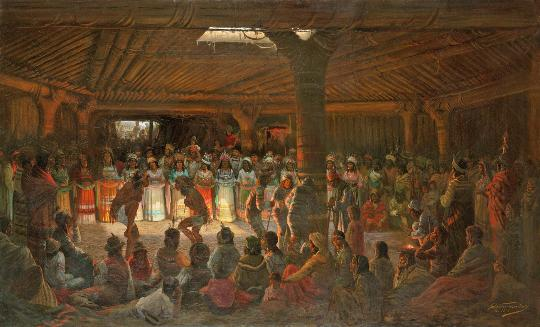Jules Tavernier 1878 painting of Pomo ceremony