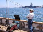 Taking aim at an aircraft carrier on return to San Diego.