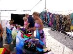 Cheyanne picks out some blouses at the Big Pine Key flea market